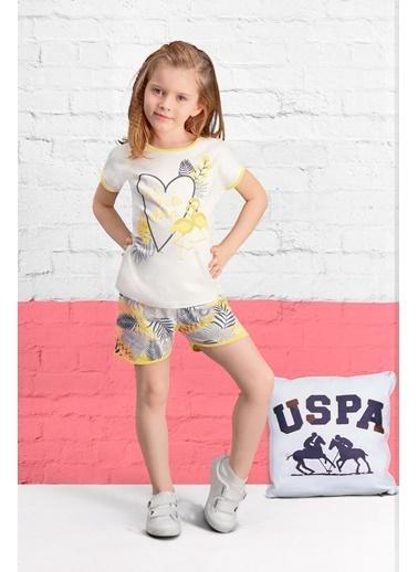 U.S. Polo Assn. U.S. Polo Assn Lisanslı Krem Kız Çocuk Şort Takım Krem